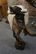 """ONE-OF-A-KIND 23"""" TALL IRONWOOD CARVING OF A WOLF"""
