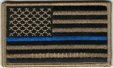 Coyote Black Tan Police Thin Blue Line Stripe United States US Flag Patch