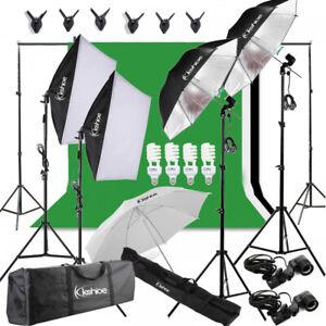 Photography Studio Lighting Kit Photo Softbox 3X Backdrops Background Stand Sets