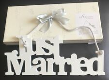 Amore Wood Just Married White Hanging Sign Rope 29 X 11.5cm