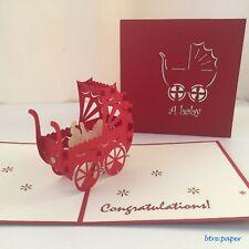 baby pram new born pop up 3D card gift greeting card congratulations