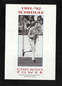Chicago Power--1991-92 Pocket Schedule--SportsChannel--NPSL