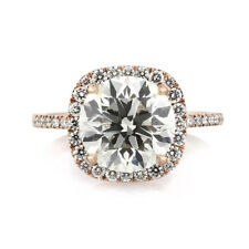 Solitaire 3.60Ct Diamond Engagement Rings Size P BIS 14K Rose Gold Wedding Band