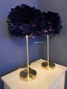 Rachel Zoe Dark Navy Blue Feather Luxe Table Lamp