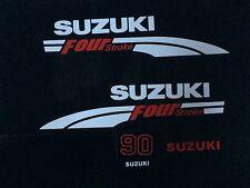Suzuki 90 hp FourStroke Outboard Engine Decal Kit  MARINE VINYL white & red