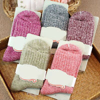 FT- 5 Pairs Women Wool Cashmere Thick Warm Soft Solid Casual Sport Socks Winter