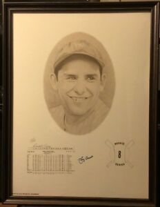 YOGI BERRA AUTO SIGNED LITHOGRAPH #687/1000 FRAMED 18x24 DAVID COONEY YANKEES