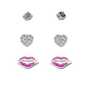 TOC Sterling Silver Rhinestone Set Cube, Heart & Lips Stud Earrings - 3 Pairs