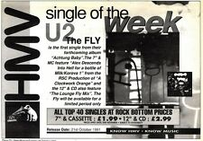 """26/10/91 Pgn22 Advert: Hmv Single Of The Week the Fly From U2 Out Now 7x11"""""""