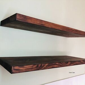 Rustic Floating Shelf - Solid Wood - Fixings Included -Choice of Colour and Size