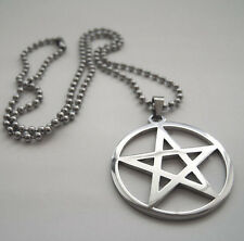 New style Stainless Steel Silver pentagram Satan worship Pendant Beaded Necklace