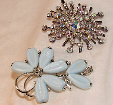 Vtg Kramer Blue Plastic flower Brooch & Aurora Borealis Cluster Rhinestone Pin