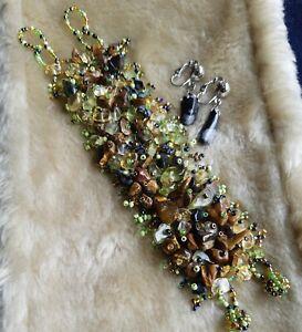 Citrine, Tigers Eye,Snowflake Obsidian & Beaded Bracelet Plus Clip On Earrings