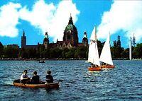 Hannover , Maschsee mit Blick auf das Rathaus ,Ansichtskarte