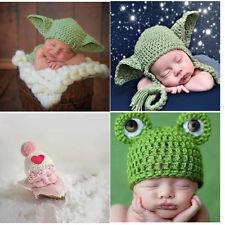 Newborn Baby boys Girls Yoda Outfits Crochet Hat Baby Frog Costume Photo Props