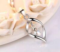 925 Silber Plattierte Damen Halskette Venezianerkette Dangle Collier mit Perle