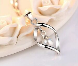 925 Silver Plated Women's Necklace Venetian Chain Dangle Necklace with Pearl