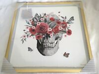 Marmont Hill 16 X16 Floral Skull Framed Signed Artwork Butterflies Roses Gold