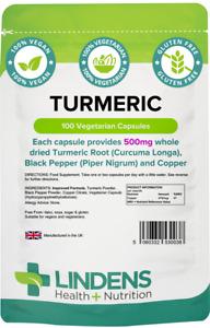 TURMERIC CAPSULES, Black Pepper, Curcumin, Copper High Strength 500mg LINDENS