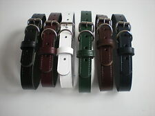 Real leather dog collars in black,brown,burgundy,navy,white, tan and green
