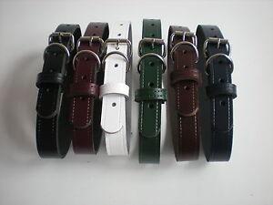 Cuir véritable colliers chien en noir,brun,bourgogne,navy,blanc, tan et vert