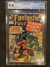 FANTASTIC FOUR #25 CGC 9.4 OW/W Classic Hulk Cover Key 2nd SA Captain America
