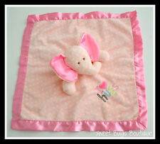 Carter's Just One Year Pink Polka Dot ELEPHANT Satin Rattle Lovey I Love Hugs