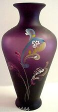 Fenton  Glass Paisley Mystery Sanded Aubergine Vase Connoisseur New Mint In Box