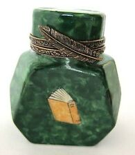 Genuine French Limoge Porcelain Box-Green Inkwell,Feather Clasp