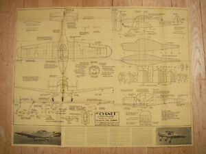 "Aeromodeller Plans of Cygnet a vintage scale lightplane model 17 1/4"" span"