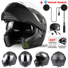 DOT Matte Black Full Face Motorcycle Helmet Modular Flip Up Dual Visor Bike Race