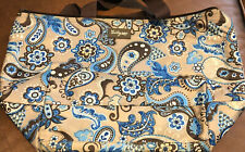 Thirty-One Thermal Tote Brown Blue Paisley Lunch Box Insulated Picnic Bag-NWOT
