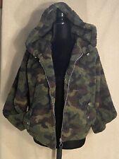 Womens Juniors Francescas Camoflage Sherpa Full Zip Hooded Jacket Coat
