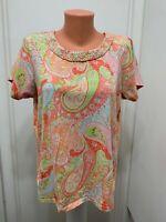Caribbean Joe Island Womens paisley braided neck line cotton spandex shirt  1x
