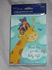 Tender Thoughts 8 Cute Giraffe thank You Baby Gift Cards w/ Env New (C9 64)