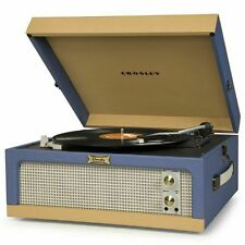 NEW! Crosley Dansette Portable Junior Turntable with Aux-In Blue Tan CR6234A-BT