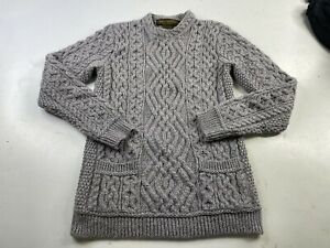 INIS CRAFTS Sweater Womens Small 100% Merino Wool Fisherman's Cable Knit Ireland