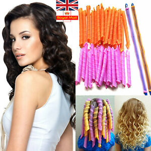18/40PCS Magic Long Hair Curlers Curl Leverage Rollers Spiral Styling Tool +Hook