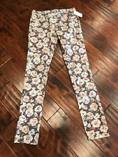 Juicy Couture Purple Floral Print Skinny Jeans, Size 0