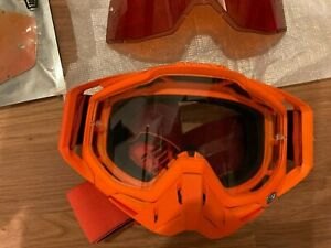 100% Race Craft Googles Orange with 2 Clear Mirror red and Hardened Amber Lenses