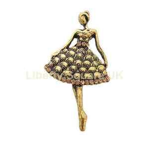 Burnished Gold Ballerina Brooch / Golden Dancing Lady Brooch / Gift  #604