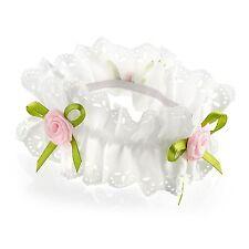 Girls Ivory Ribbon Pink Rosebud Flower Hair Bun Garland Scrunchie Elastic Band