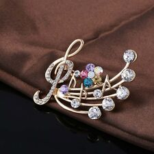 Brooch Pins Delicate Crystal Musical Note Blossom Brooches wedding jewelry