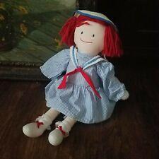 """Vintage 1990 Eden Madeline 19"""" Plush Doll Scar Striped Sailor Dress Straw Hat"""