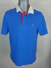 MENS RALPH LAUREN BLUE CUSTOM FIT RUGBY STYLE SHORT SLEEVE POLO SHIRT S SMALL