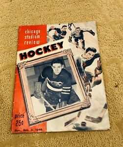 1946 Boston Bruins At Chicago Blackhawks Nhl Hockey Program Chicago Stadium
