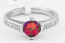 GENUINE 1.04 Cts PINK OPAL & WHITE SAPPHIRE RING SILVER PLATED * NWT * Size 6.75
