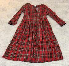 NEW Lanz of Salzburg Red Plaid Empire Waist Button Front Dress Sz M