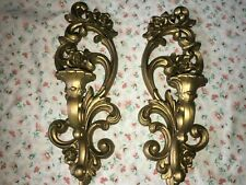 2 VTG 1971 Antique Gold Ornate Wall Decor Sconce Candle Holder Syroco HOMCO 4118