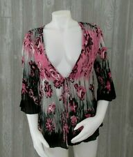 DressBarn Petite Womens Open Front Crinkle Cardigan Size XL Floral Print Stretch